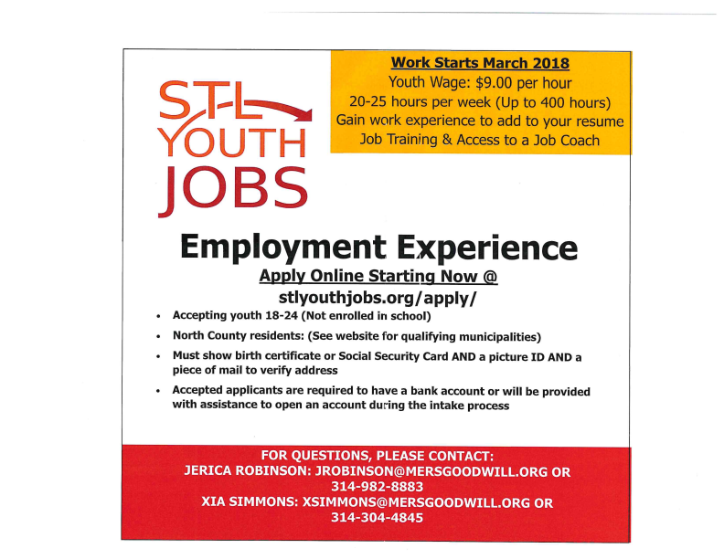 City Of Jennings Stlouis Youth Jobs